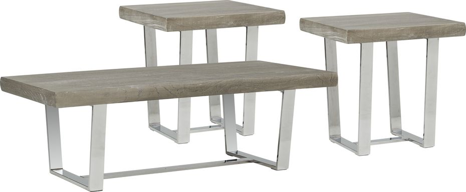 Cindy Crawford San Francisco Gray 3 Pc Table Set