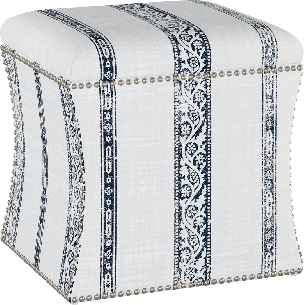 Classical Notes White-Gray Storage Ottoman