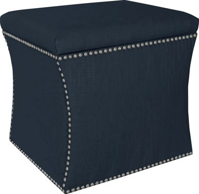 Classical Notes Navy Storage Ottoman