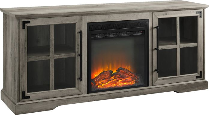 Clayshire Gray 60 in. Console, With Electric Fireplace