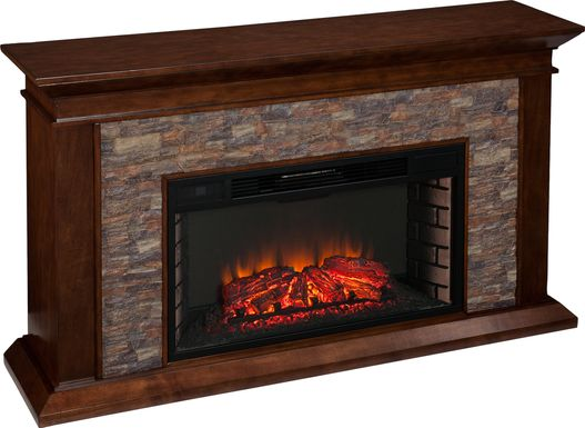 Clydebank Brown 60 in. Console with Electric Fireplace