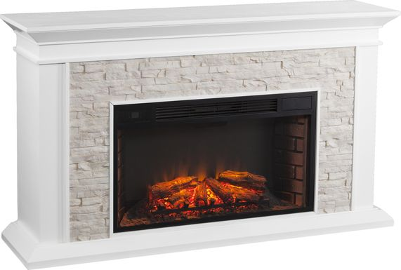 Clydebank White 60 in. Console with Electric Fireplace