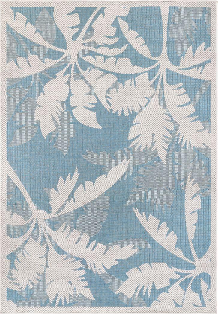 Coastal Flora Blue 5'3 x 7'6 Indoor/Outdoor Rug