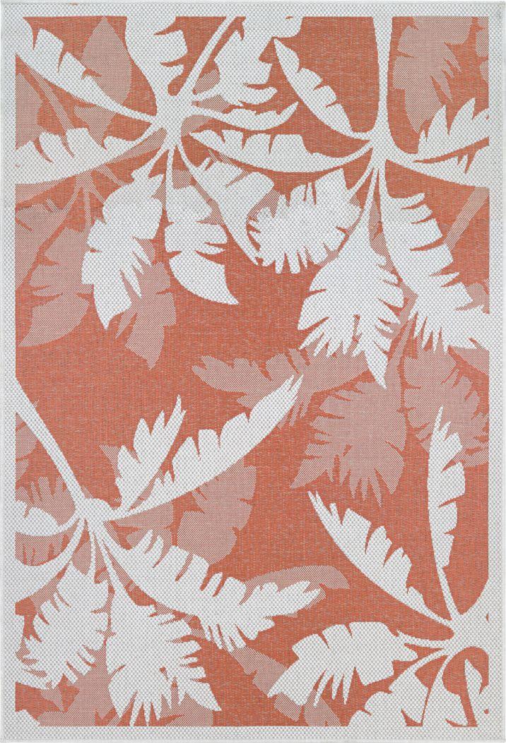 Coastal Flora Orange 7'6 x 10'9 Indoor/Outdoor Rug