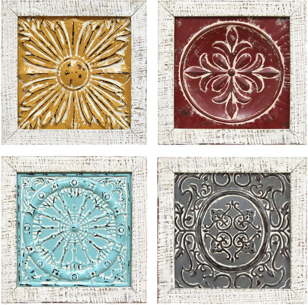 Colorful Tiles Set of 4 Wall Art
