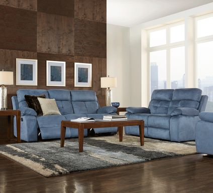 Corinne Blue 3 Pc Living Room with Reclining Sofa