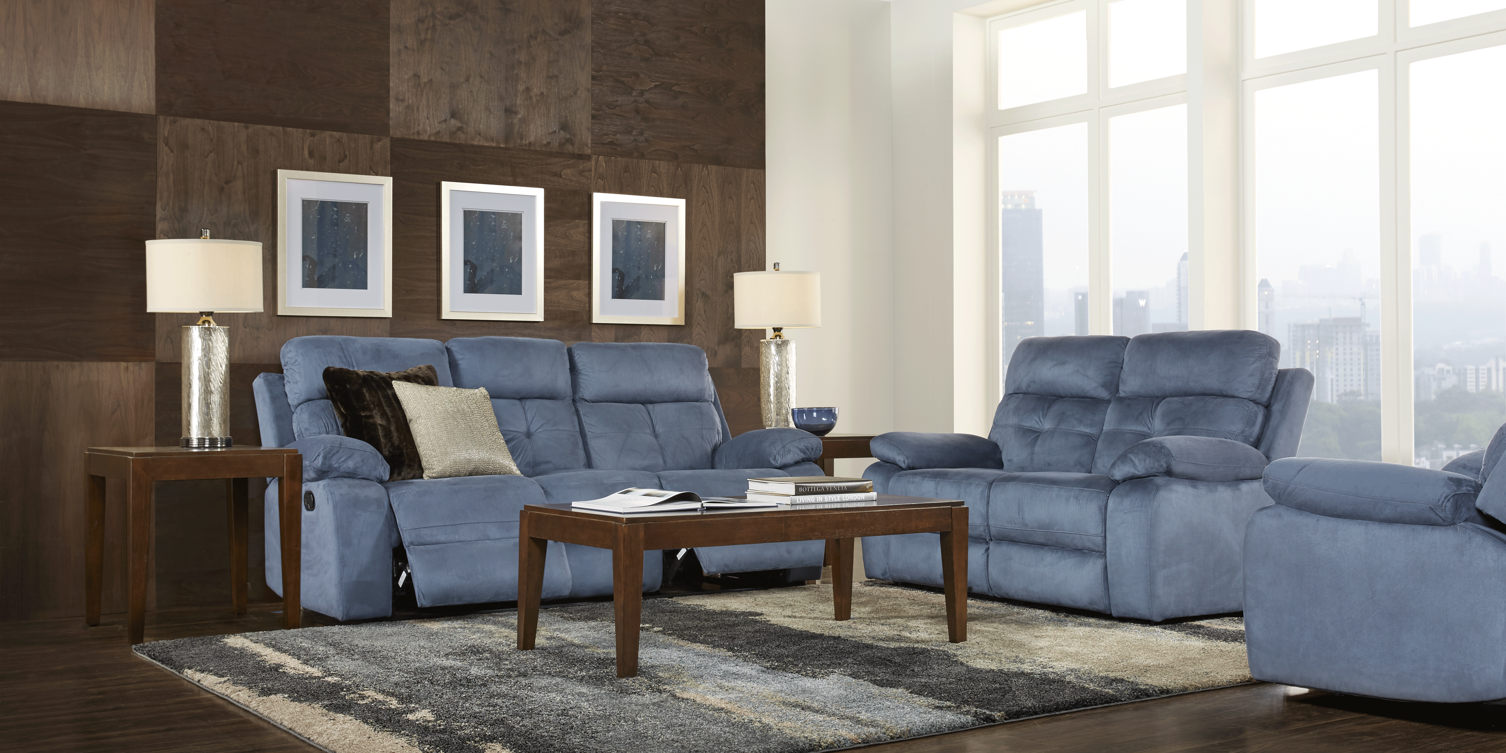 Corinne Blue 3 Pc Living Room With Reclining Sofa Rooms To Go
