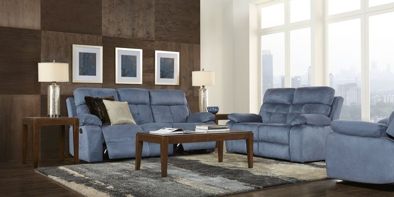 Corinne Blue 5 Pc Living Room with Reclining Sofa