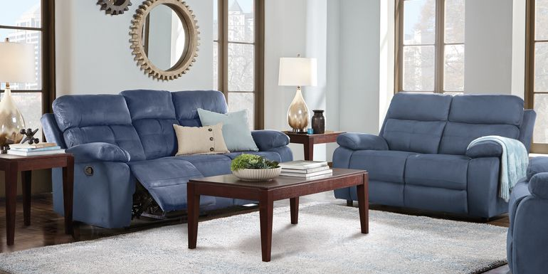 Corinne Blue 7 Pc Living Room with Reclining Sofa