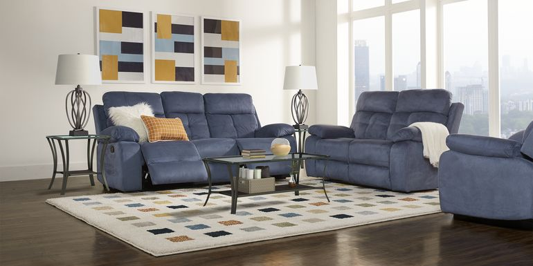 Corinne Blue 8 Pc Living Room with Reclining Sofa
