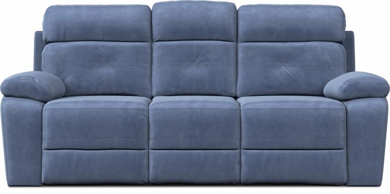 Corinne Blue Reclining Sofa