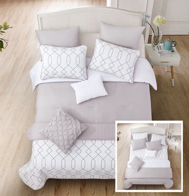 Corissia Gray 8 Pc Queen Comforter Set