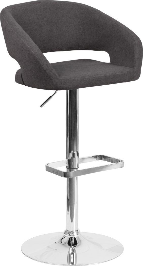 Corley Black Plush Adjustable Swivel Barstool