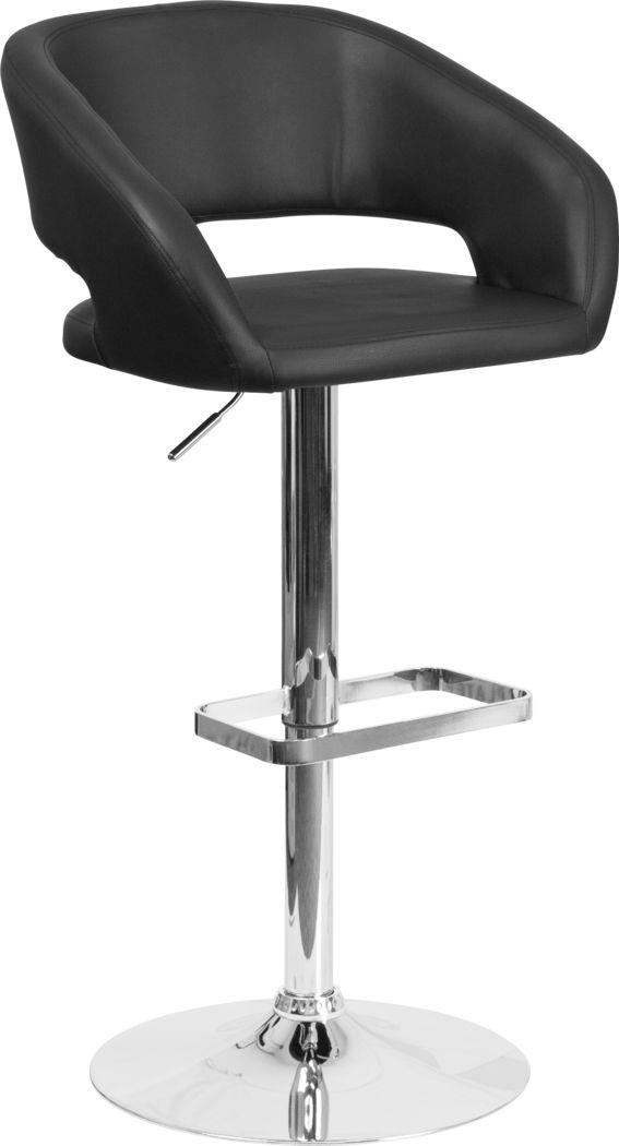 Corley Black Ultrahyde Adjustable Swivel Barstool