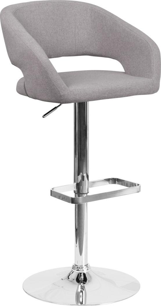 Corley Gray Plush Adjustable Swivel Barstool