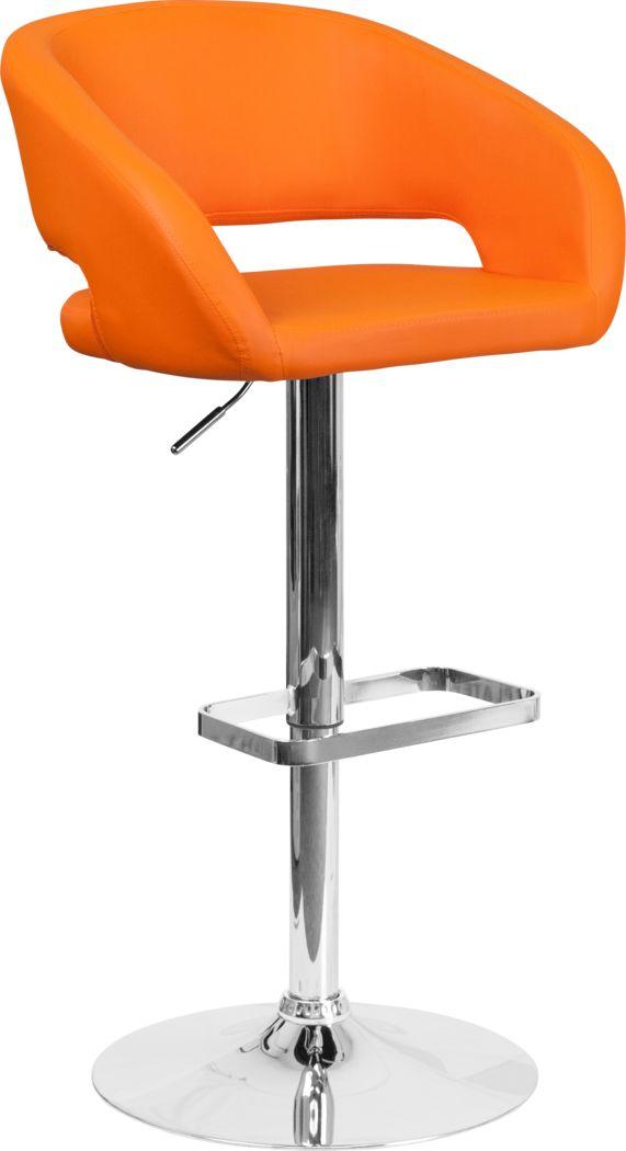 Corley Orange Ultrahyde Adjustable Swivel Barstool