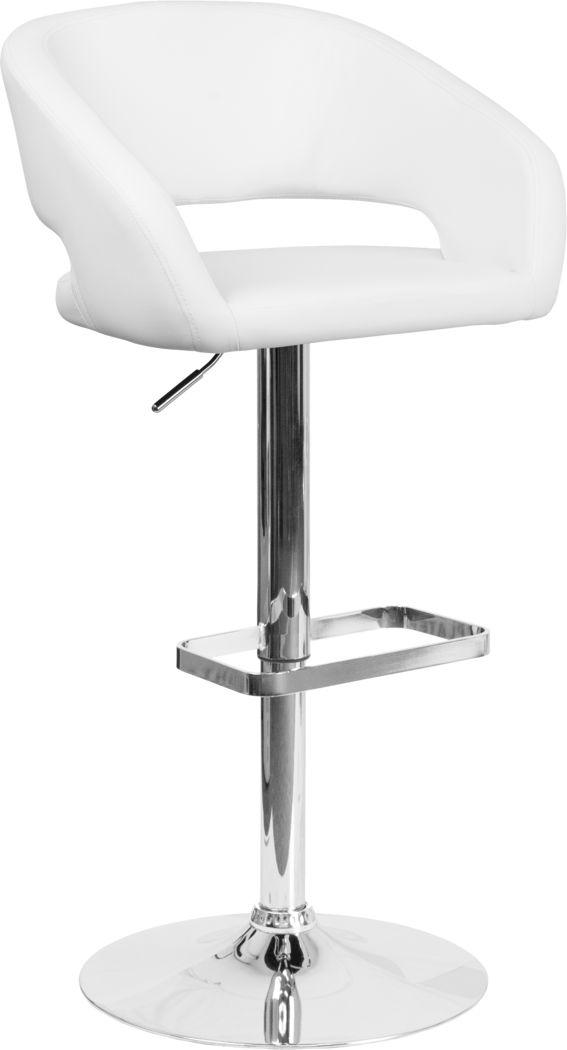 Corley White Adjustable Swivel Barstool