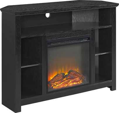 Corona Black 44 in. Console with Electric Fireplace