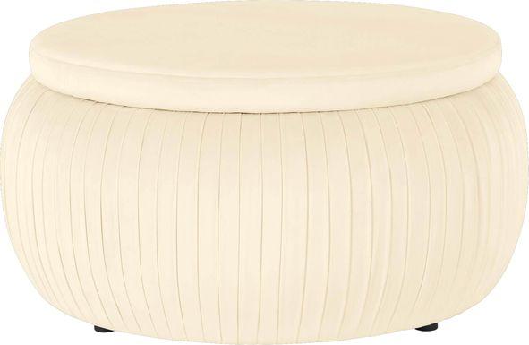 CosmoLiving Pleated Sapphire Round Velvet Storage Ottoman Cream