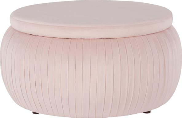 CosmoLiving Pleated Sapphire Round Velvet Storage Ottoman Pink