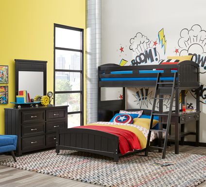 Cottage Colors Black Twin/Full Loft Bunk Bed with Desk