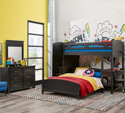 Cottage Colors Black Twin/Full Step Bunk with Desk