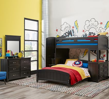 Cottage Colors Black Twin/Full Step Bunk with Dresser
