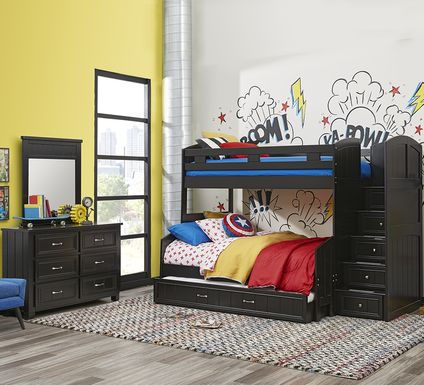Cottage Colors Black Twin/Full Step Bunk