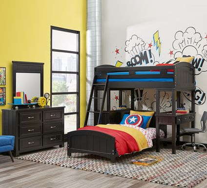 Cottage Colors Black Twin Loft Bunk with Desk and Dresser