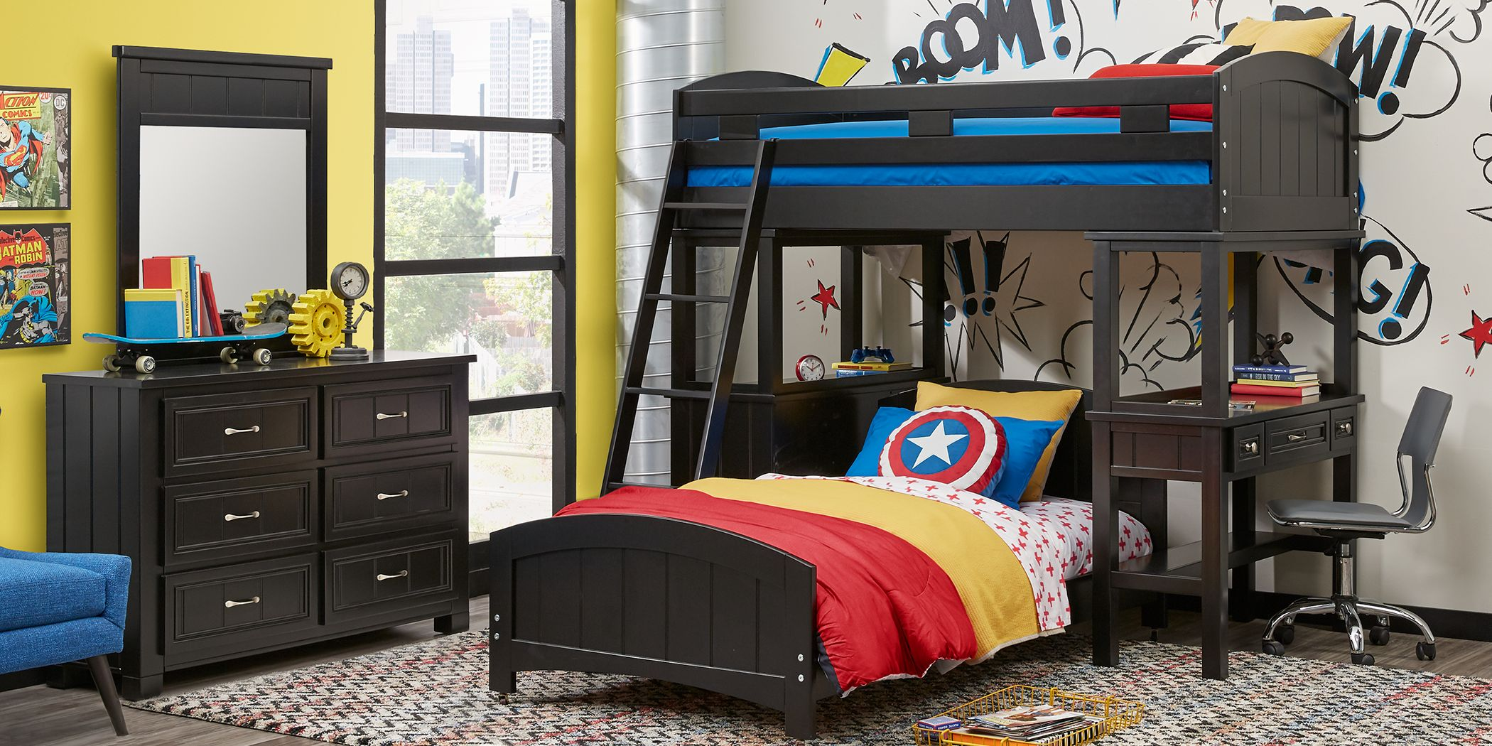 Cottage Colors Black Twin Loft Bunk with Desk and Dresser