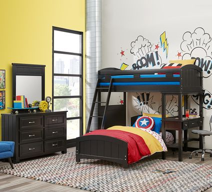 Cottage Colors Black Twin/Twin Loft Bunk Bed with Desk