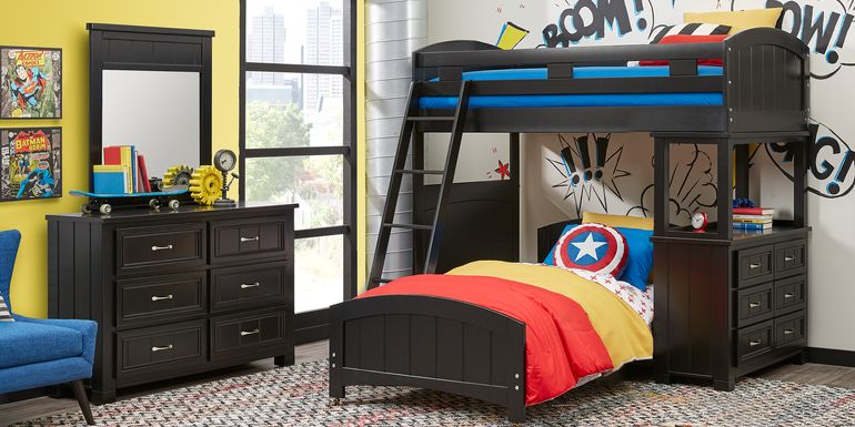 Cottage Colors Black Twin/Twin Loft Bunk Bed with Dresser