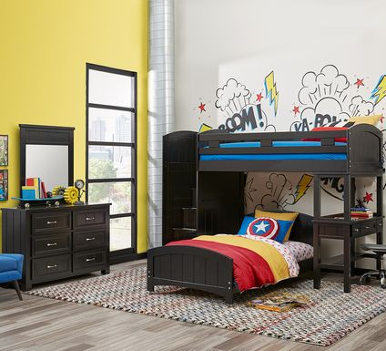 Cottage Colors Black Twin/Twin Step Bunk with Desk