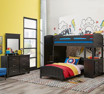 Cottage Colors Black Twin/Twin Step Bunk with Dresser