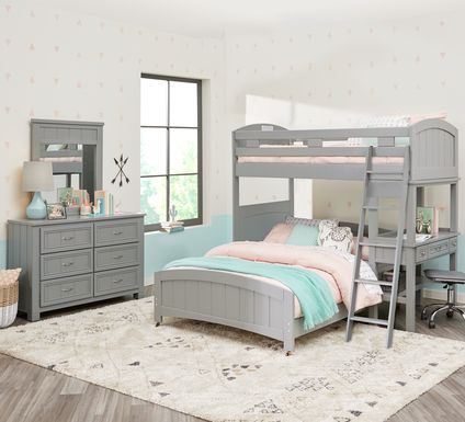 Cottage Colors Gray Twin/Full Loft Bunk Bed with Desk