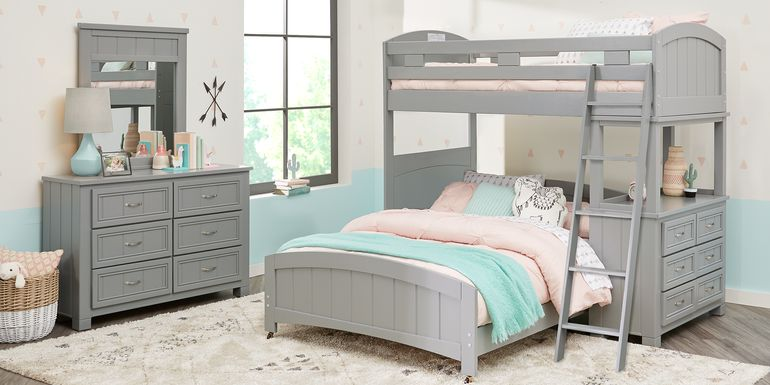 Cottage Colors Gray Twin/Full Loft Bunk Bed with Dresser