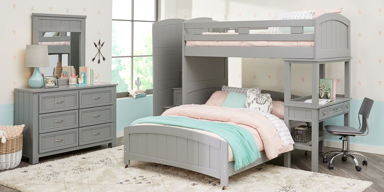 Cottage Colors Gray Twin/Full Step Bunk Bed with Desk