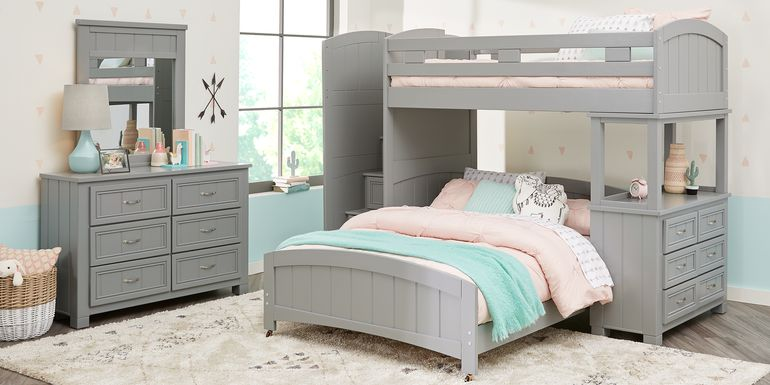 Cottage Colors Gray Twin/Full Step Bunk Bed with Dresser