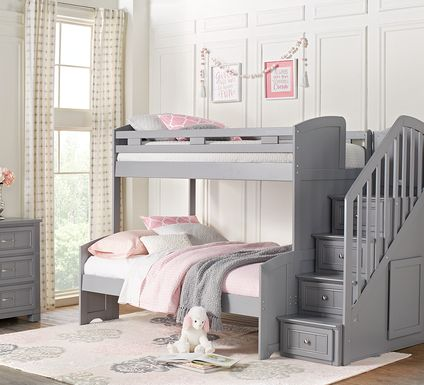 Cottage Colors Gray Twin/Full Step Bunk Bed