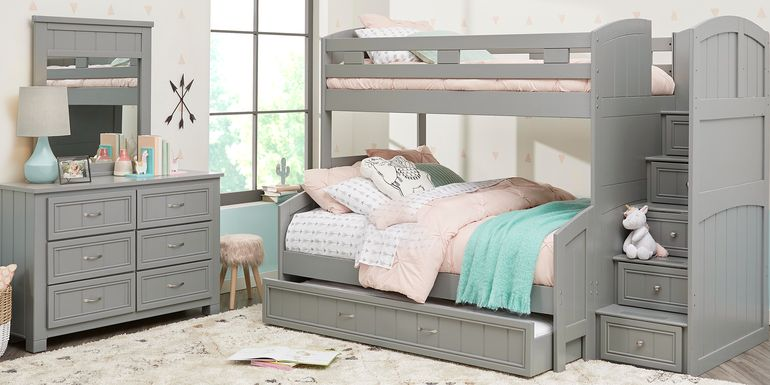 Cottage Colors Gray Twin/Full Step Bunk