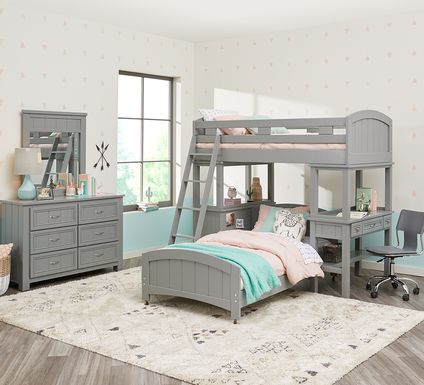 Cottage Colors Gray Twin Loft Bunk with Desk and Dresser