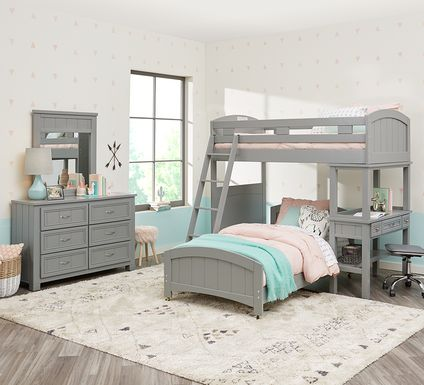 Cottage Colors Gray Twin/Twin Loft Bunk Bed with Desk