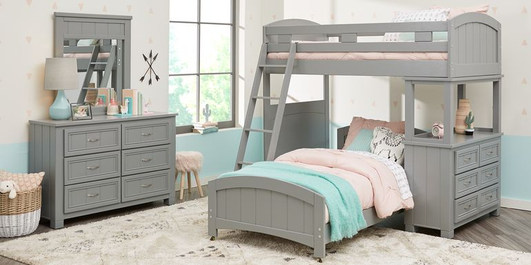 Cottage Colors Gray Twin/Twin Loft Bunk Bed with Dresser