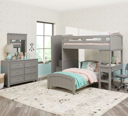 Cottage Colors Gray Twin/Twin Step Bunk Bed with Desk
