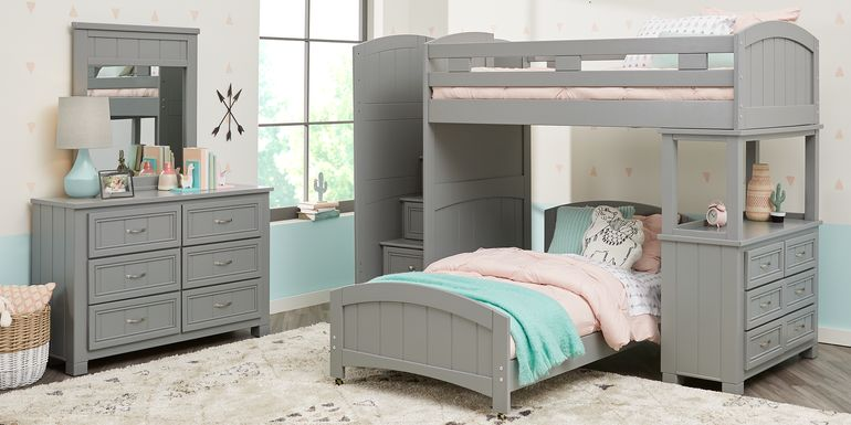 Cottage Colors Gray Twin/Twin Step Bunk Bed with Dresser