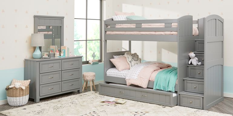 Cottage Colors Gray Twin/Twin Step Bunk Bed