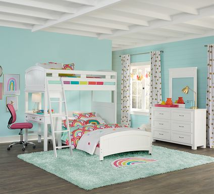 Cottage Colors White Twin/Full Loft Bunk Bed with Desk