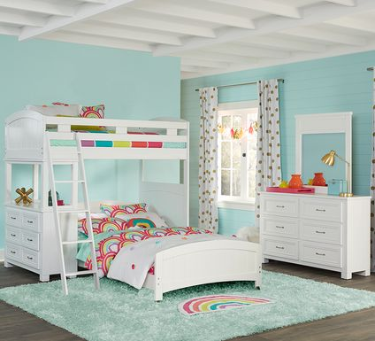 Cottage Colors White Twin/Full Loft Bunk Bed with Dresser