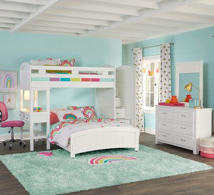 Cottage Colors White Twin/Full Step Bunk with Desk
