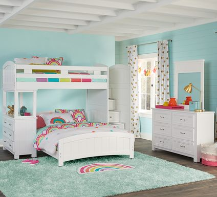 Cottage Colors White Twin/Full Step Bunk with Dresser